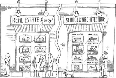 Leon Krier - architecture school education cartoon
