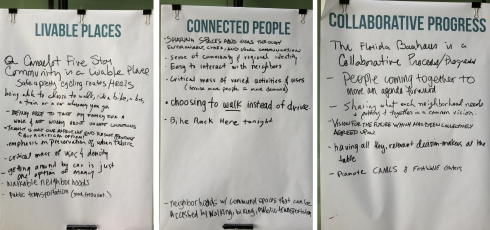 Urbanism on Tap participant's definition of the terms included in the Invision Tampa vision statement.