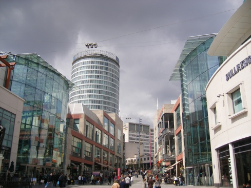 The main entrance to the Bullring Shopping Centre is a continuation of Birmingham's high street.