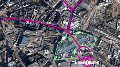 A diagram of the Bullring Shopping Centre and how it relates to the high streets and the historic public space, The Bullring.