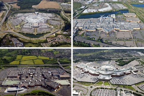 Bluewater, Lakeside, Metro Centre, and Trafford Shopping Centres in England (Images: Webb Aviation, Above All Images, The Telegraph)