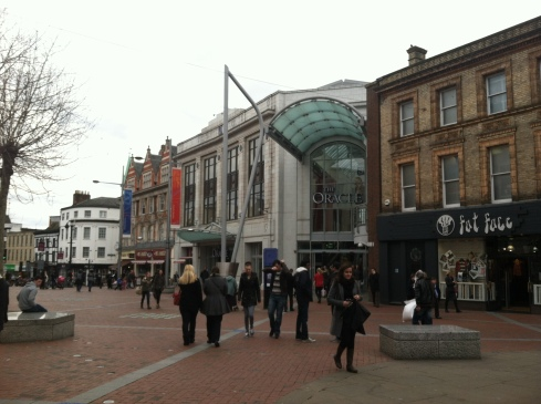 The main entrance to the Oracle Shopping Centre, enhancing the street wall of the high street.