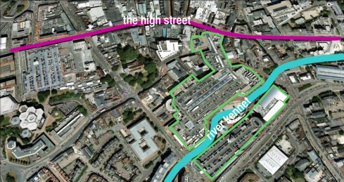 A diagram of the Oracle Shopping Centre and how it relates to the high street and the River Kennet.