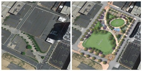 Romare-Bearden Park: Before and After (Source: Land Design)