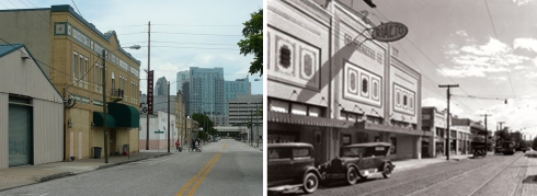 Franklin Street and the Rialto Theatre: Now and Then.