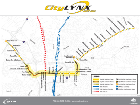 The CityLynx Gold Line at build out showing all phases. (Image Source: www.charmeck.org)