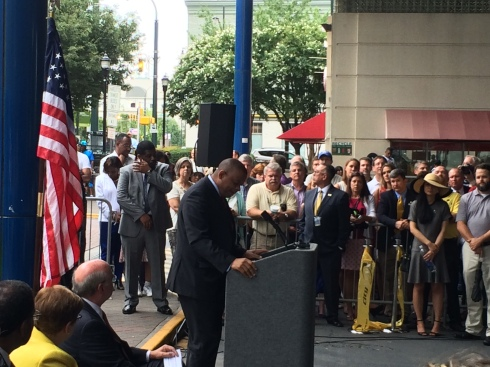 Anthony Foxx at the GoldLynx Streetcar Opening Ceremony